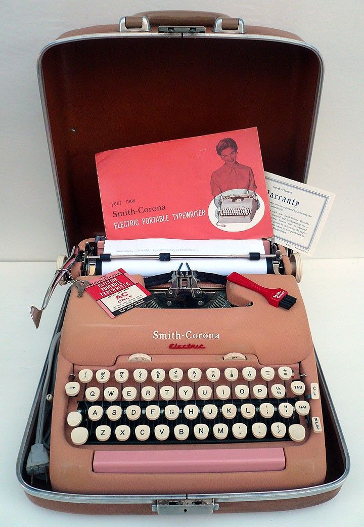 "WOW check out this RARE and Oh-so-fabulous 1950s PINK portable typewriter.  This is the first electric Smith-Corona typewriter with the charm of an ""old school"" manual typewriter but the ease of an electric."