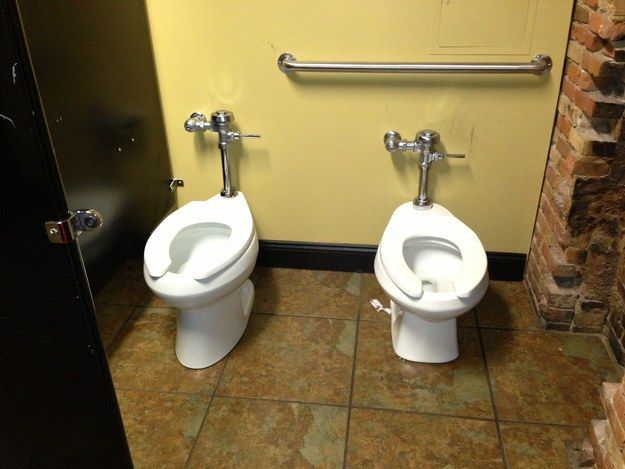 The awkward part here is actually when you invite the person behind you in line, and you then close the stall door.   The 19 Most Epic Bathroom Fails That Will Make You Hold It Forever