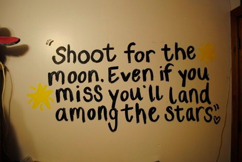 """Shoot for the moon, even if you miss you'll land among the stars."""