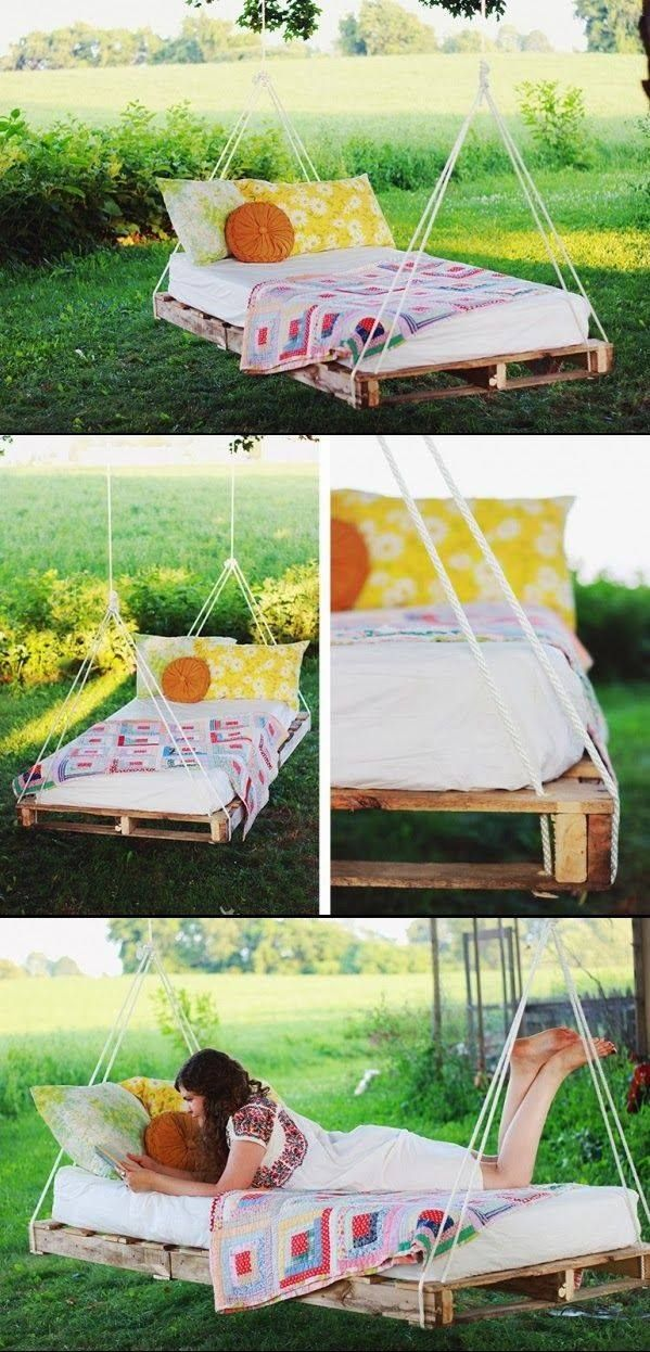 Build your own porch swing bed woodworking projects plans for Outdoor pallet swing bed