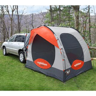 @Overstock.com - Rightline Gear Rightline Gear SUV Tent - The modern design of the SUV Tent lets you sleep off the ground in the comfort of your own vehicle. The tent connects to any size SUV, minivan, wagon, or pick-up truck with cap. The tent can be used as stand alone.  http://www.overstock.com/Sports-Toys/Rightline-Gear-Rightline-Gear-SUV-Tent/8249864/product.html?CID=214117 AUD              391.50