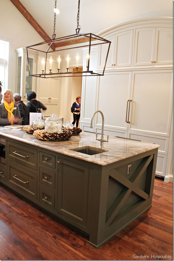 kitchen from Southern Hospitality blog - love this lighting fixture and the two tone kitchen