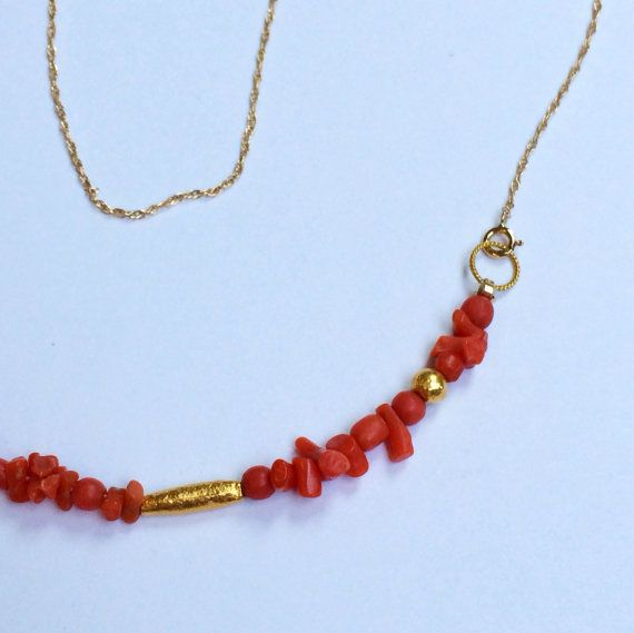 Antique Branch Coral 14k & 18k Necklace by GiltJewelry on Etsy, $295.00