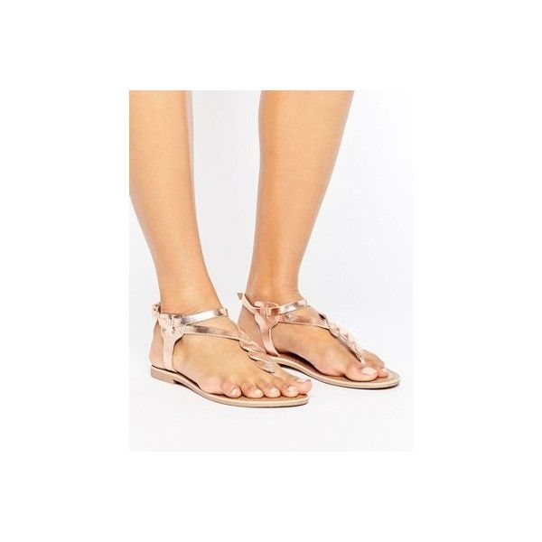 ASOS FELINE Jelly Flat Sandals ($16) ❤ liked on Polyvore featuring shoes, sandals, strap sandals, ankle strap shoes, strappy sandals, flat prom shoes and prom sandals