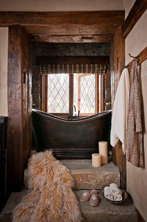 Yellowstone Club Copper Tub And Stone Steps Bathroom Pinterest Rustic Bathrooms Luxury