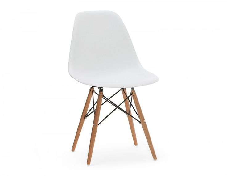 Formed from molded polypropylene, the Eiffel Wooden  chair feels tailored to your body, which makes sitting down  a pleasure. Beech legs are held in place by a network of black metal  bars, adding interest beneath the seat's surface. Get the impact  from this vintage-inspired piece when pulled up to a dining table or desk.