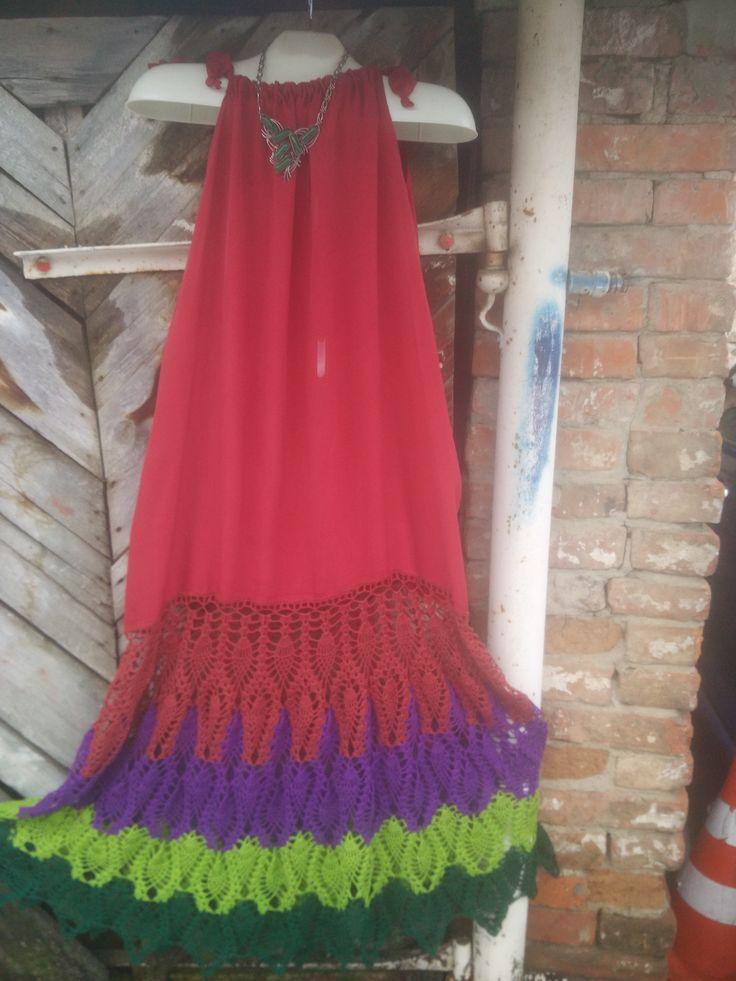 сарафан Петушиный Хвост,вязание и ткань