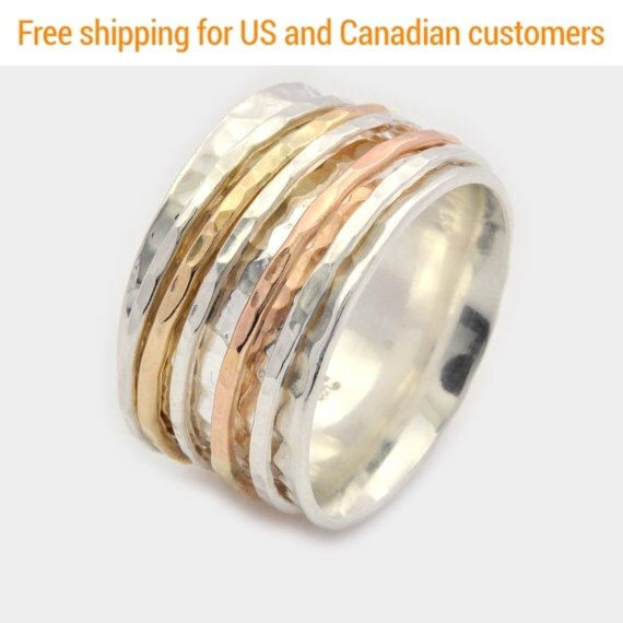 Excited to share the latest addition to my #etsy shop: Hammered Silver Spinner Ring, Silver Spinner Ring, Silver and Gold Spinner Ring, Hammered Silver Spinner Ring, Meditation Ring