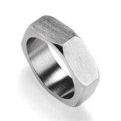 Men's Stainless Steel Bolt Band Ring