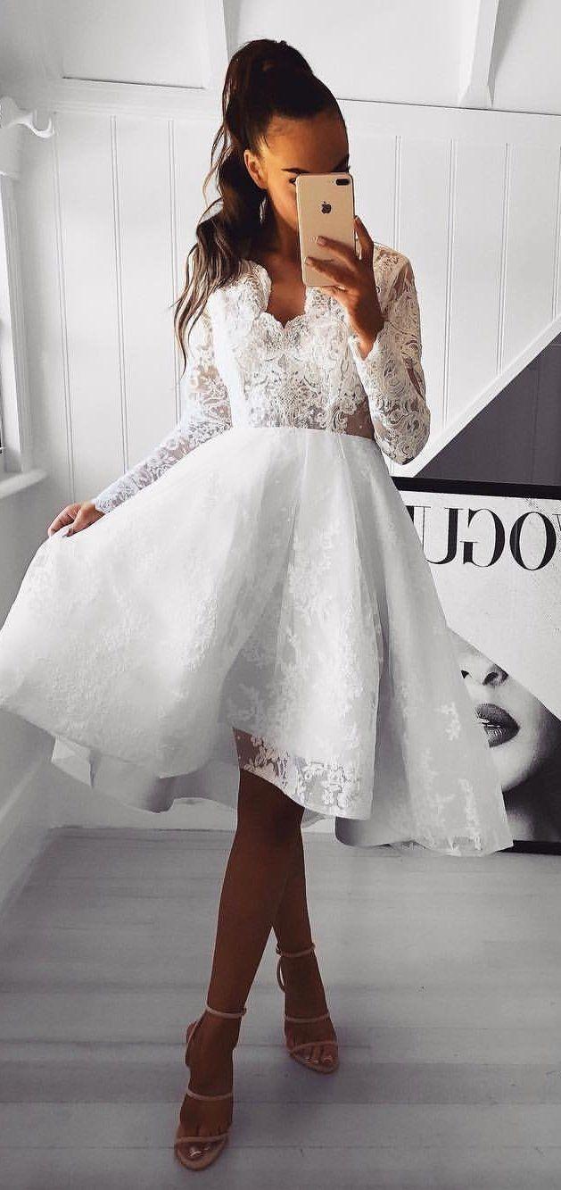 Aline vneck long sleeves short white prom dress with lace ekkor