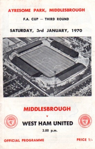 On a programme front cover vs West Ham United 1970