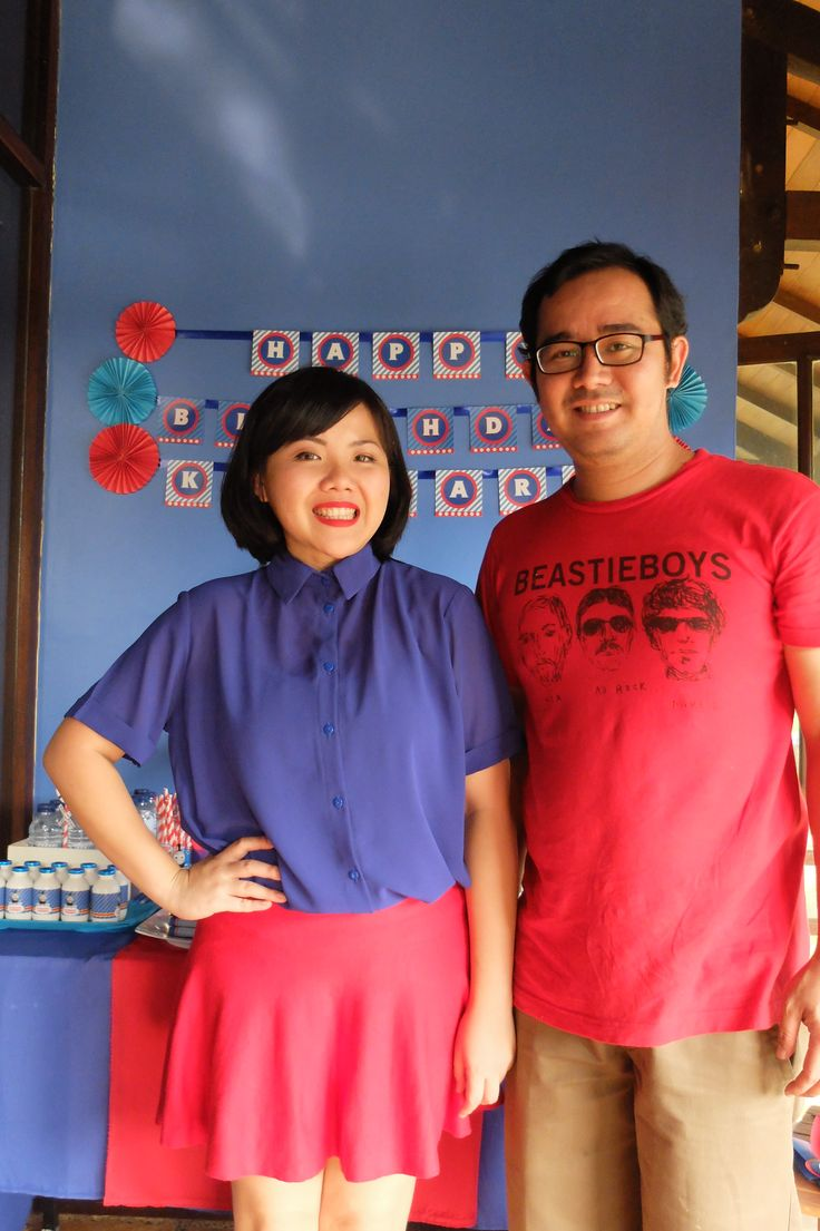 me and my housband. oh, the dress code was blue and red, by the way.