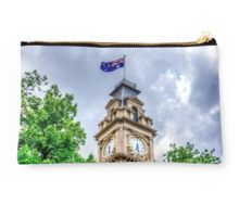 The Clock Tower and Australian Flag at the Historic Town Hall - Bendigo, Victoria Studio Pouch