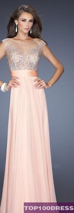 Gorgeous nude and light pink dress. Love the invisible neckline