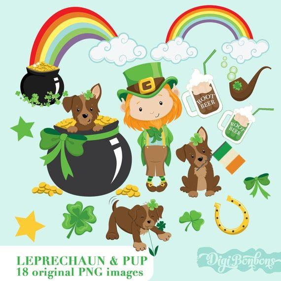 St Patrick S Day Digital Clip Art Cute Leprechaun Pot Etsy In 2021 Rainbow Clipart Digital Clip Art Cartoon Clip Art