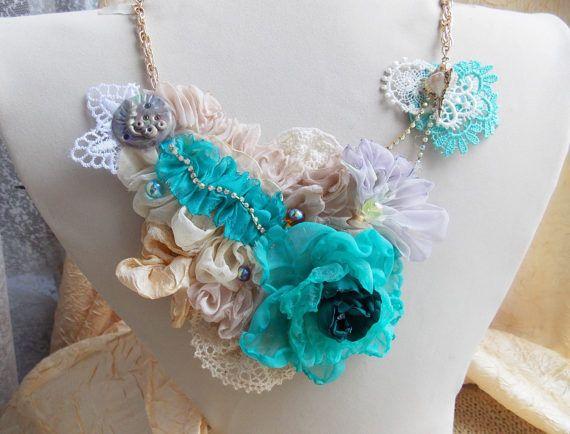Collana di tessile gioielli tessili collana di tessuto