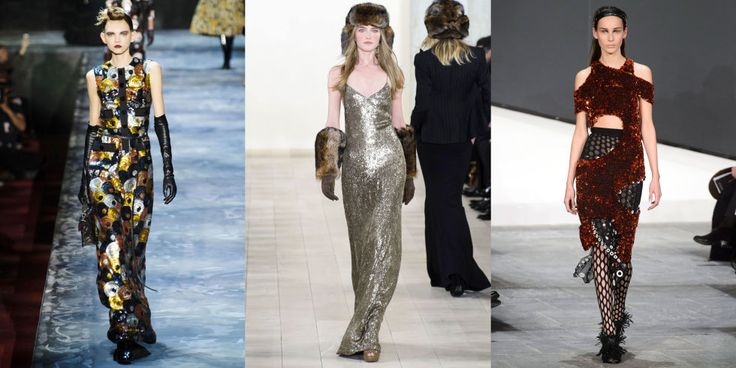 Aside from the '90s theme, there have been a plethora of sparkles on the runway during New York Fashion Week, especially via the evening gown (bomber jackets were also a standout). Shimmering dresses at Marc Jacobs, Ralph Lauren and Proenza Schouler all cried out to be taken for a spin on the town, or at this Sunday's Oscar red carpet.  From left to right: Marc Jacobs, Ralph Lauren, Proenza Schouler