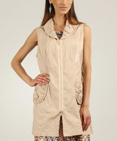 Love the collar here. This Beige Zip-Up Sleeveless Jacket is perfect! #zulilyfinds