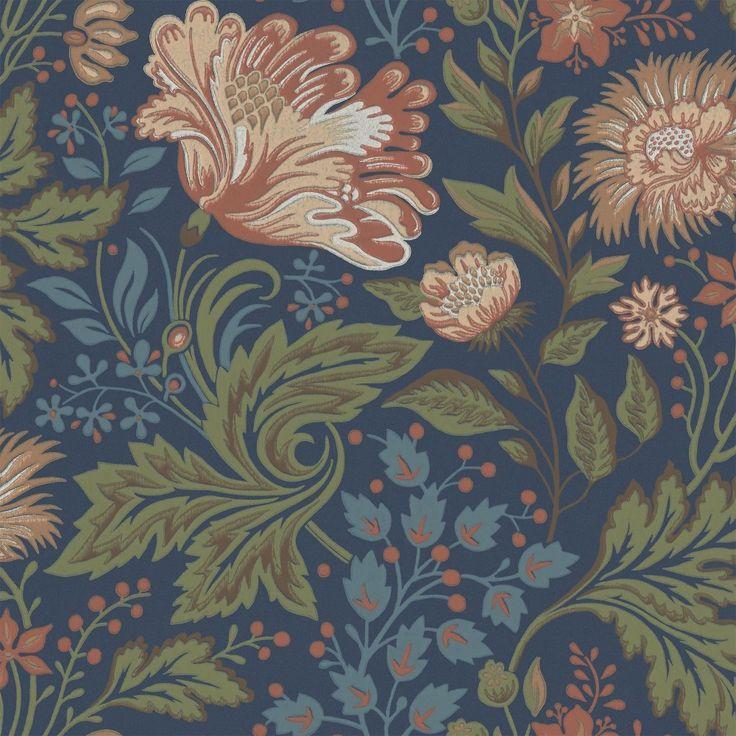 Tredje stora bilden av tapetern Ava Mörkblå