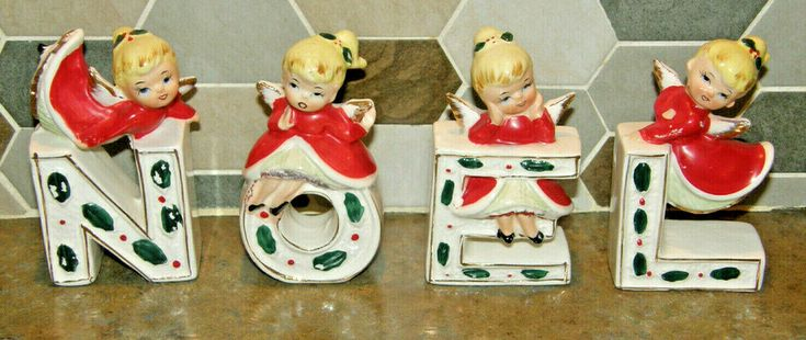 VINTAGE Ceramic NOEL Letters Napco? Japan MCM Weihnachten Blonde Engel Figuren …   – Vintage Christmas Decor