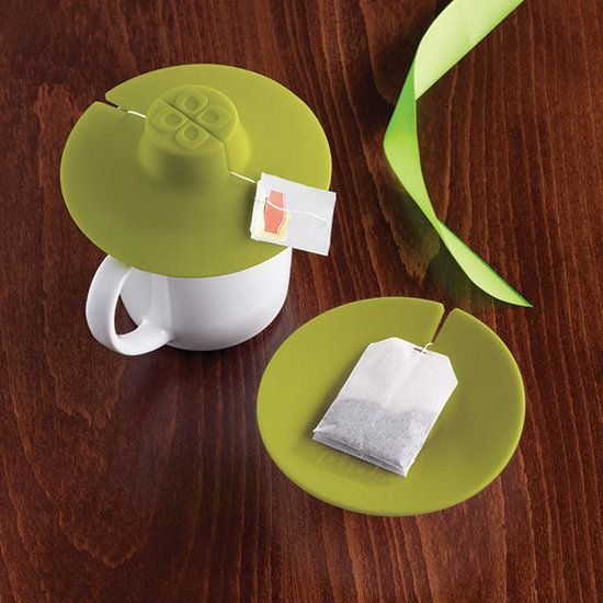 Tea Bag Buddy: Finally a simple fix to the common teatime dilemma. The Tea Bag Buddy ($5) holds a tea bag firmly in place while it steeps and, when done, flips over to work as a coaster to hold the used tea bag.