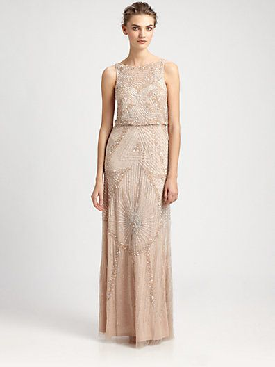 Aidan Mattox - Beaded Blouson Gown  absolutely beautiful beadwork in this lovely vintage styled gown