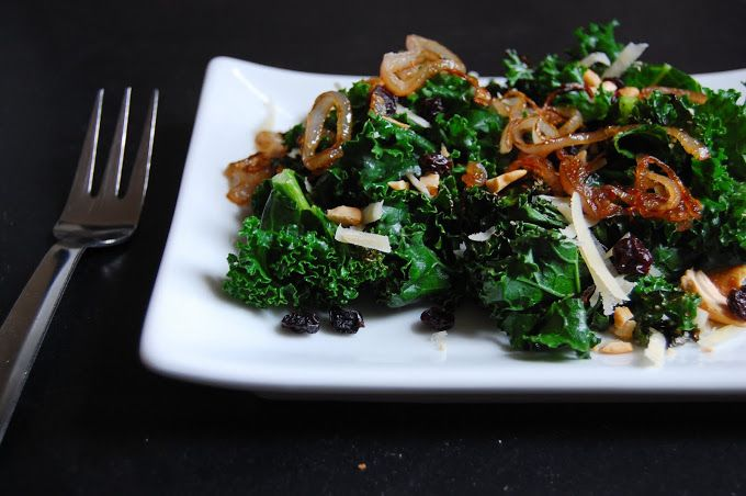 SAUTEED KALE SALAD WITH CURRANTS, CASHEWS AND SHALLOTS