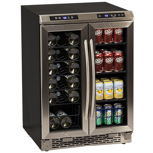Avanti 19 Bottle French Door Wine and Beverage Cooler - Black and Stainless Steel