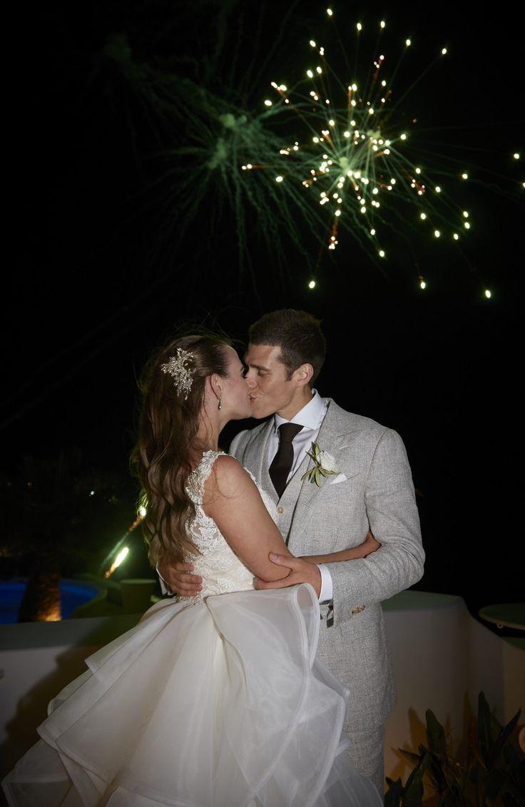 Fireworks, Joy, Moments, Love, Smiles, Lights, Colors, Skylkine, Wedding Attire, Santorini Weddings