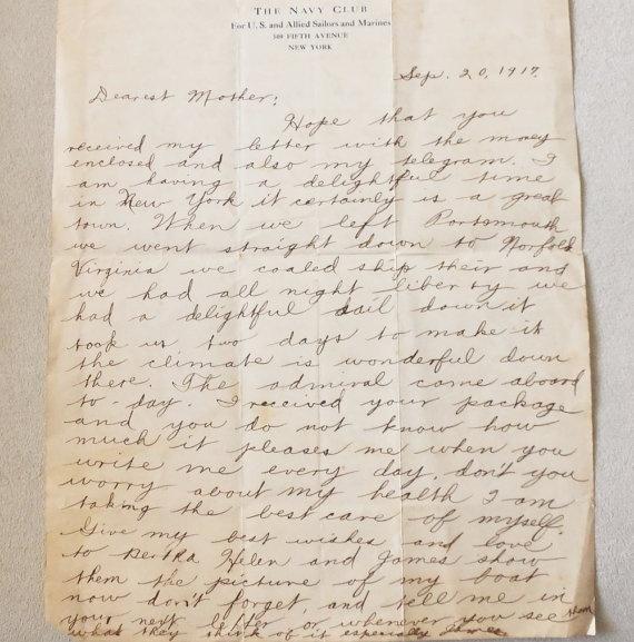 Dearest Mother Letter From Her Son September 20 1917
