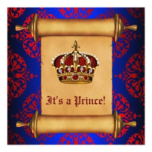 royal red and blue prince baby shower card