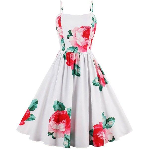 Flower Printed Sleeveless A Line Sundress ($17) ❤ liked on Polyvore featuring dresses, white summer dress, white dress, floral print dress, floral dresses and sleeveless dress