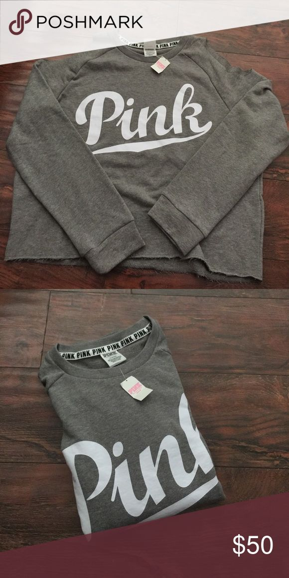 1 Cold Shoulder Sweater Brand New sweater size medium in color Grey and white letters authentic with tags retail$49 plus tax No trades Price is for each meaning just for one Sweater also available in color Orange size large and in white size xsmall PINK Victoria's Secret Sweaters