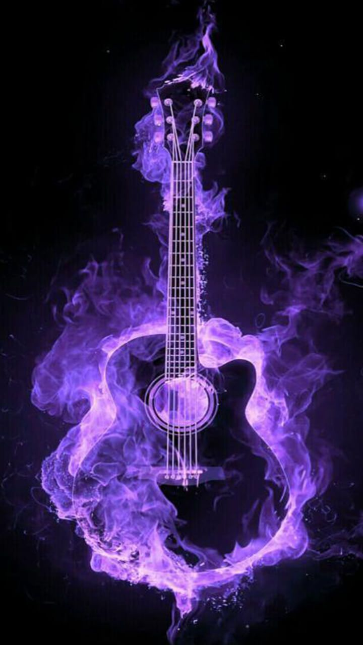 Guitar Lovers All Music Fans How Is This Flaming Neon Acoustic Guitar Art For Your Wallpaper Art Music Gu Guitar Art Acoustic Guitar Art Music Guitar Art