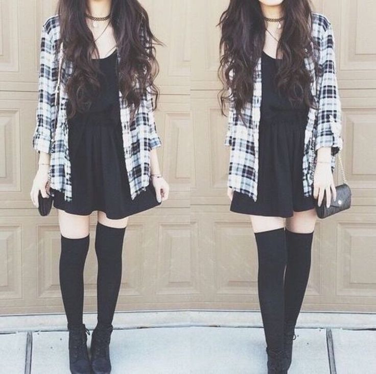 Grey, Black, & White Plaid Jacket, Black Lace Dress, Black Knee-High Socks, Black Lace Flats, Choker