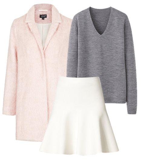 @Who What Wear - Get The Look:   Topshop Fluffy Swing Boyfriend Coat ($178); Uniqlo Women Extra Fine Merino V Neck Sweater ($30); BCBGMAXAZRIA Flared Stretch Knit Skirt ($158).