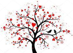 2da84b505200a7 Baixar - Árvore decorativa de duas cores com corações — Ilustração ...