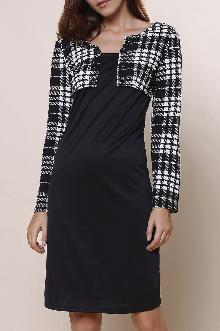 Elegant Round Collar Plaid Splicing Long Sleeve Dress For Women