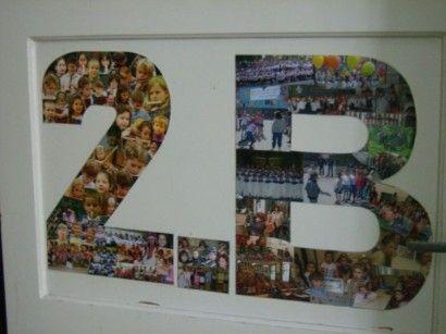 Otthonosság: az osztályterem ajtaján a diákok képeiből összeállított montázs…