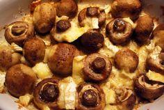 Partyhapjes: Champignons met brie uit de oven.