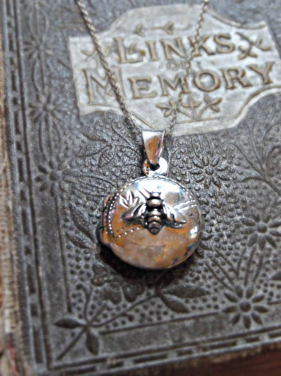 Dainty Sterling Silver Bee Locket by forageandfinduk on Etsy
