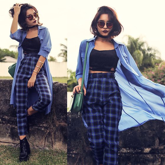 Abaday Plaid Pants, Abaday Long Blouse, AmandhÍ Bracelet http://lookbook.nu/look/6394428-Abaday-Plaid-Pants-Long-Blouse-Amandh-Bracelet