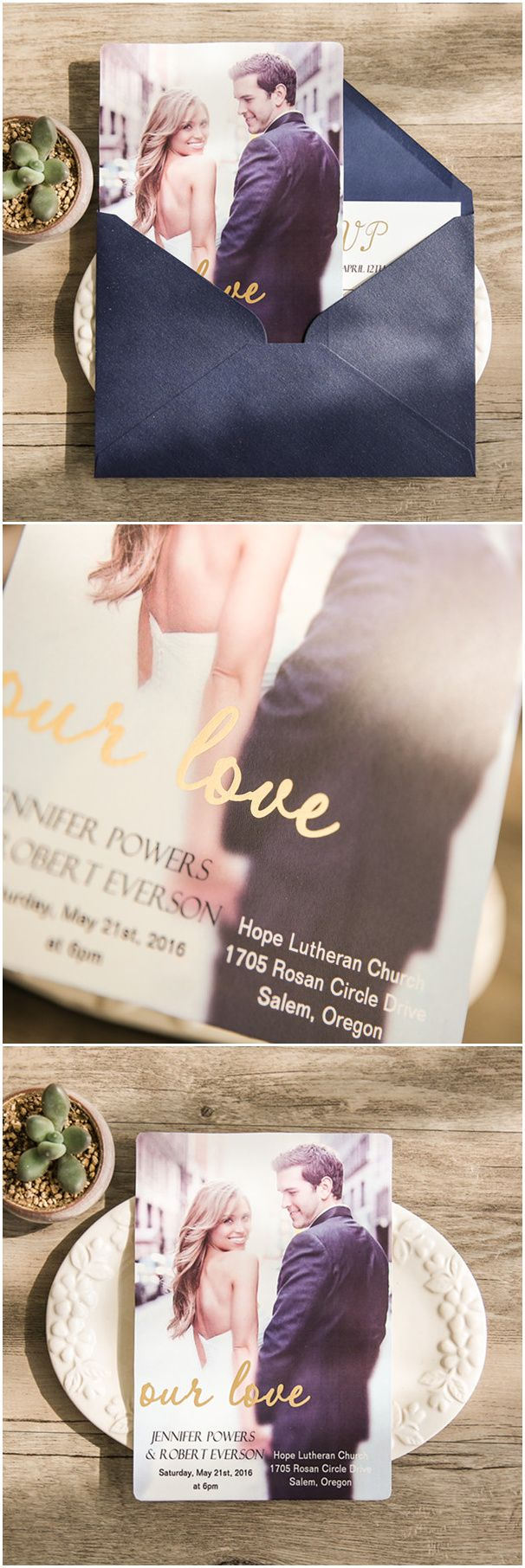 modern photo our love gold foil stamped