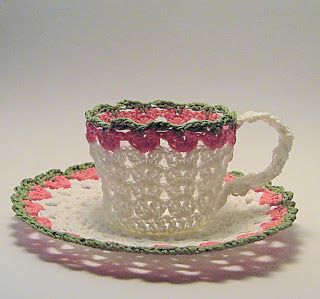 Welcome to the Nest: Tea, Anyone?                                   Crocheted tea cup.  Would be pretty on a shelf.
