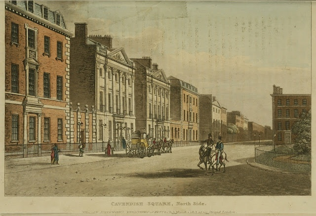 1813 Cavendish Square street scene from Ackermann's Repository. Other London street views from Ackermann's can be found at http://www.ekduncan.com/2011/10/regency-england-london-street-views.html#