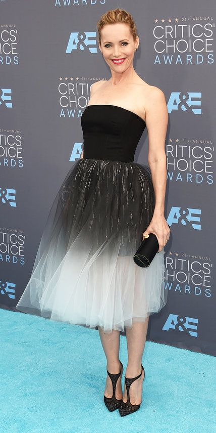 2016 Critics' Choice Awards: LESLIE MANN The actress wore a strapless black and white tea-length dress by Monique Lhuillier.