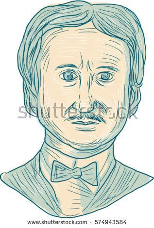 Drawing sketch style illustration of Edgar Allan Poe, an American writer, editor, poet and literary critic viewed from the front set on isolated white background.  #EdgarAllanPoe #sketch #illustration