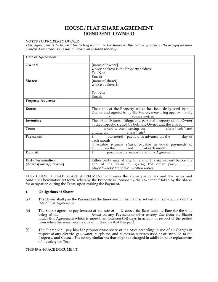 Uk House Flat Share Agreement With Resident Owner Legal Forms Pertaining To House Share Tenancy Agreement Template 10 Tenancy Agreement Legal Forms Agreement