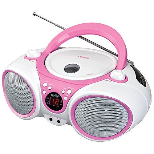 #shopping #Jensen limited edition pink CD-490 portable sport stereo CD player with AM/FM radio and aux line-in & headphone jack the Jensen CD-490PW limited editi...