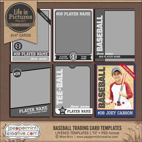 LIP:+Baseball+Trading+Card+Templates+-+$2.95+:+Peppermint+Creative,+Digital+Scrapbook+Supplies